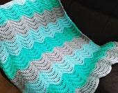 Babies Blanket Boy or Girl in colours green,turquoise and Silver grey.