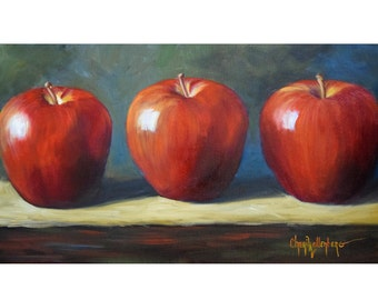 Three Red Apples, Still Life Painting, Apples Standing at Attention,Canvas Original Art by Cheri Wollenberg