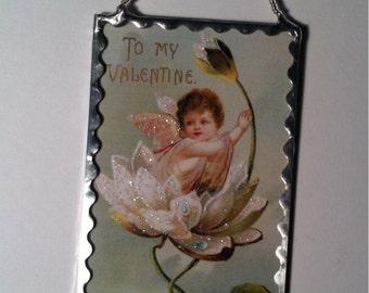 Vintage Valentine Postcard Plaque Soldered Glass Ornament