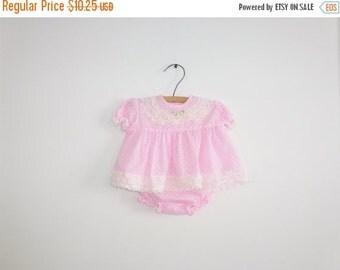 SALE // Vintage Pink Polka Dot Ruffle Dress