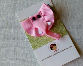 New Item---Boutique Baby Girl Toddler Clippie---Pink Elephant----