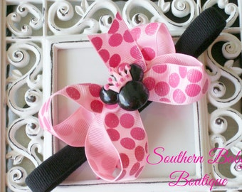 NEW ITEM---Boutique Baby Girl Toddler Hair bow Dainty Headband---Miss Princess Minnie---Pink and Hot Pink