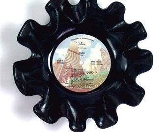 Rush Vinyl Record Bowl Vintage LP Album 1976 (2112) Colorful Chicago Skyline Label