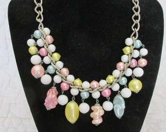 Vintage Necklace Chunky Pastel Beads