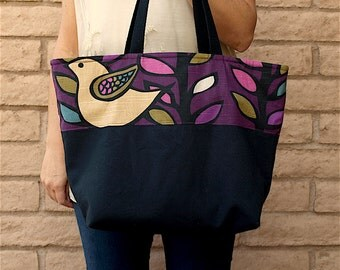Purple and Navy Blue Bird Tote with cotton webbing handles and pocket inside, One Of A Kind fabric bag, shopping tote, school bag