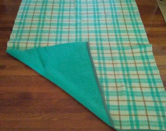 Double Vintage Wool Plaid Blanket in Turquoise
