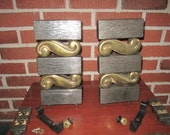 Reserved for Fritz...Vintage Mid Century Modern HEAVY Metal Set of Andirons