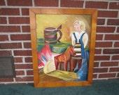 Vintage Mid Century Modern Large Colorful Framed Original Oil Painting