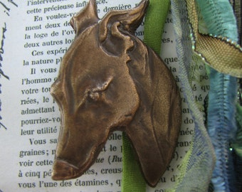 pin brooch Whippet Italian Greyhound by Dianne Kresevich