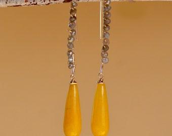 SUN DROP Calcite  - Labradorite  Silver Earrings. Yellow Calcite Teardrops Gemstone Sterling Silver Earrings.  Fun Chic Earrings.