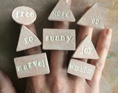 S A L E fun & adjustable geo essential oil clay diffuser rings in assorted words