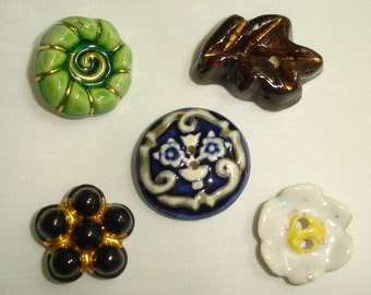 5  Vintage Ceramic  Buttons  -  French and Belgium Ceramic Buttons