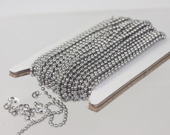 10 feet Stainless Steel BALL Chain - 2.0mm ball size with FREE 6 pcs of Connector (Crimp Type)