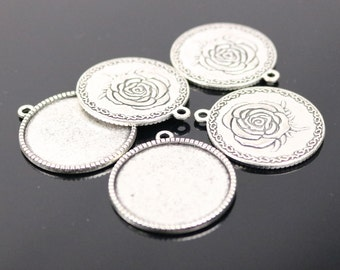 Pendant ROSE Bezels with GLASS Magnifying Domes Cabochon - 5 sets 10 pcs  - 25mm 1(one) inch Antique Silver Bezel and Circle Glass Cabochon