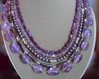 Purple Rain -- Multi-Strand Precious Gemstone and Cultured Freshwater Pearl Necklace
