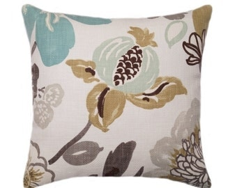 Floral Throw Pillow, Braemore Gorgeous Pearl Floral Decorative Throw Pillow in Taupe, Brown, Blue