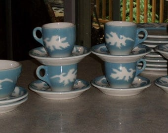 15pc set Syracuse China Oakleigh restaurant ware espresso demitasse hot chocolate 6 cups & saucers plus Bowl airbrushed Oak Leaf 1940-50's