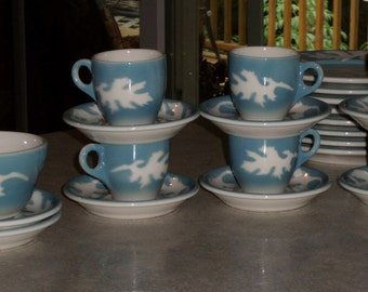 14pc Syracuse China Oakleigh restaurant ware espresso demitasse hot chocolate 6 cups & 8 saucers airbrushed Oak Leaf 1940-50's
