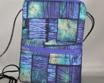 Sling Bag Purse - Passport Purse - Wallet on a String - Purple Teal Gold