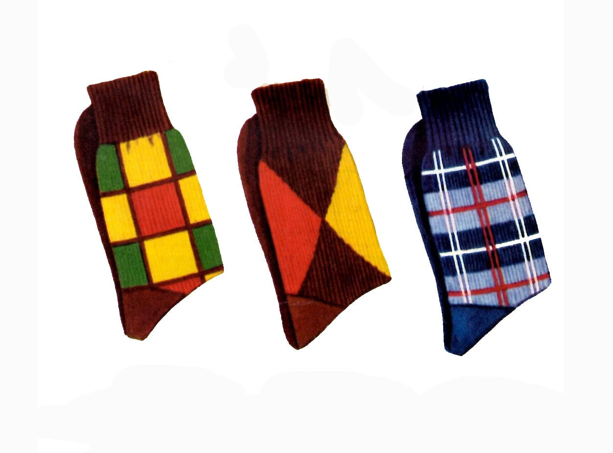 1950s Knitting PATTERN for Mens Argyle Socks Mens Plaid Socks