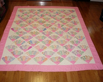 Antique Quilt - Grandmother's Fan Pattern - Double Bed Size