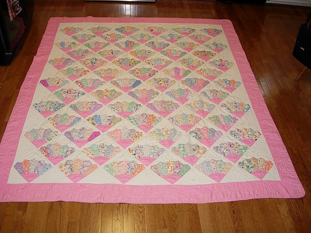 Quilt Pattern For Grandmother S Fan : Antique Quilt Grandmother s Fan Pattern Double Bed