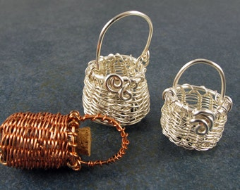 Tiny Wire Basket Tutorial, Wish Basket, Treasure Basket, Secret Basket, Pendant, How-To, Download, Instructions