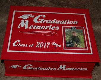 GRADUATION  Memory Box & Choose Your Class Year And School Colors  - Navy or Royal Blue - Black - Green - Red - Maroon - Brown or Purple