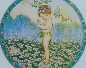 Vintage Seasonal Litho Print by Bernard Picture Co  Titled Summer Sweet Cherub or Child