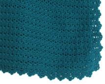 Crochet Teal Throw Handmade Home Decor