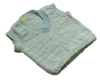 Baby Vest Hand Knit Blue and Green Multi Vneck