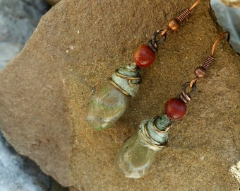 "Original Design Earrings, ""Silken Sage"" Polymer Drop Earrings, Boho, Organic, Agate, Copper"