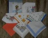 Vintage Handkerchiefs (Hankies) - Flowers, Floral Designs, Stripes, Themes