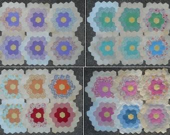 Vintage Quilt Blocks - Large Hexagon Pattern (Grandmothers Flower Garden)