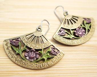 Asian Fan Purple Flowers Charm Earrings Hand Painted