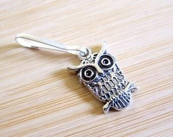 Owl on a Branch Tibetan Silver Zipper Pull Purse Charm