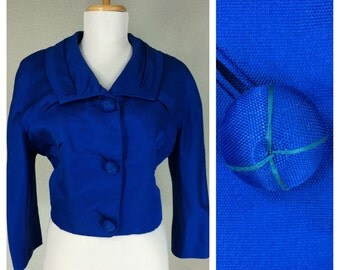 Vintage 1960s Blue Cropped Bolero Jacket Mod Amazing Buttons Collar