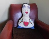 Betty the Burlesque Dancer Cushion. Quirky, Decorative, Gift