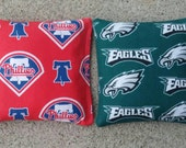 Philadelphia Eagles and Phillies  Cornhole Bags- FREE SHIPPING - Set of 8 Baseball Football Cornhole or Baggo Bean Bag Toss