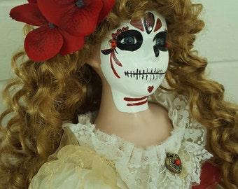 16 IN. OOAK,Sugar Skull, Day of The Dead, Goth, Skeleton, Porcelain Repainted Art Doll