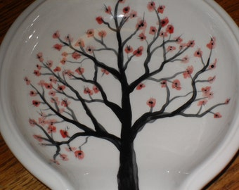 Large OOAK spoon rests/cherry blossom  tree/dragonflies/Soulas blue dragonflies/kitchenware