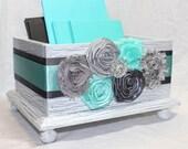 CARD BOX, Wedding Card Box, Aqua Wedding, Aqua and Gray Card Box, White Shabby Chic Box, Flowers, Custom colors available