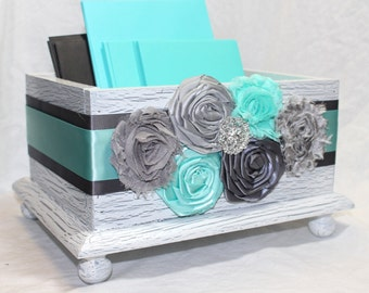 CARD BOX, Wedding Card Box, Aqua Wedding, Aqua and Gray Card Box, White Shabby Chic Box, Flowers, Custom colors available