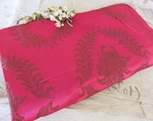 Gorgeous Vintage French Silk Damask Fabric, Magenta Pink and Gold Cartouche, Double Sided Vintage Cloth, Paris Chic Interior Decor