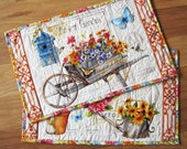 Placemat set of Two Summer Flower Garden Quilted Quiltsy handmade
