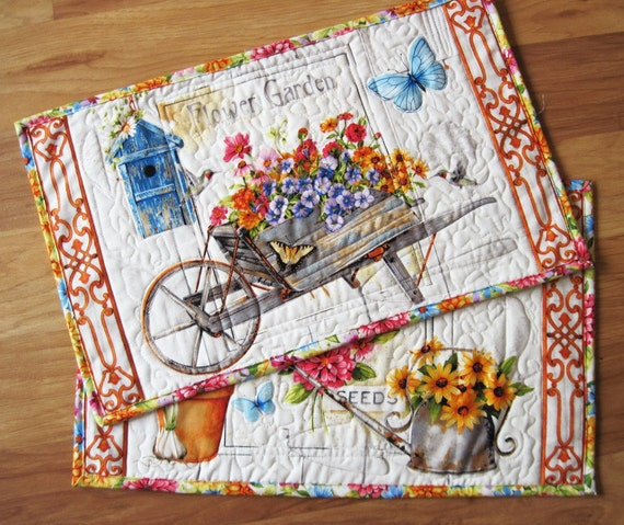 Placemat Set Of Two Summer Flower Garden Quilted Quiltsy