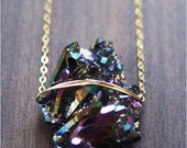 CIJ SALE Titanium Druzy Gold Necklace