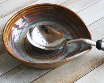 Large Rustic Spoon Rest in Earthy Amber Glaze Stoneware Pottery Utensil Dish Ready to Ship Made in USA