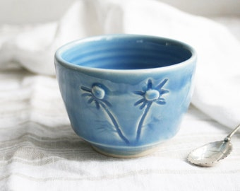 Small Yunomi Teacup in Cornflower Blue Glaze with Carved Chamomile Flowers - Stoneware Pottery Made in the USA Ready to Ship