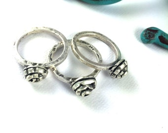Art Noveou Sterling Silver Rose Ring Set of 3 - Size 7.5